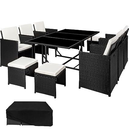 TecTake Ensemble Salon de jardin en Résine Tressée Poly Rotin Table Set | 1  Table 6 chaises et 4 tabourets | Housse de Protection - diverses couleurs  ...
