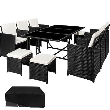 tectake ensemble salon de jardin en rsine tresse poly rotin table set 1 table 6 - Ensemble Salon De Jardin