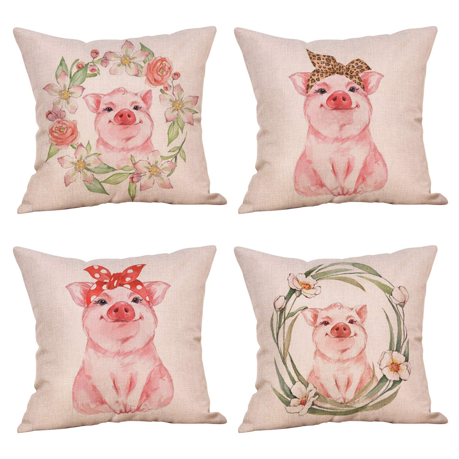 MeritChoice Pig Pillow Cute Pink Pig Pillow Case Cover Set of 4 Cotton Linen 18x18 Inch