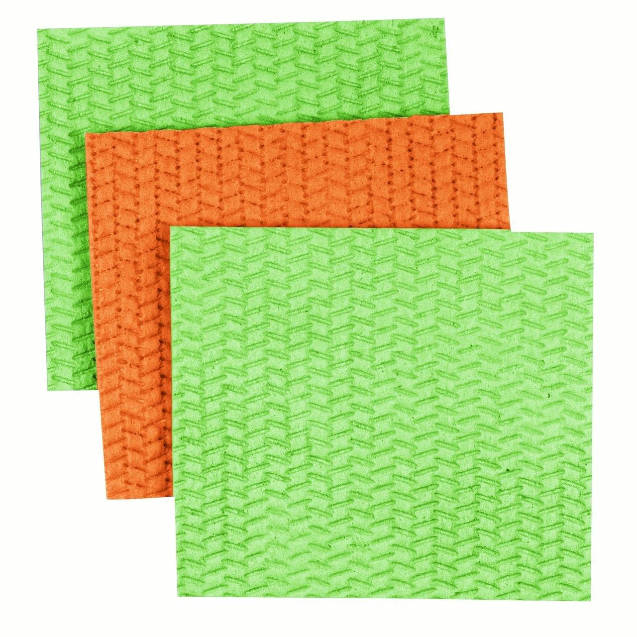 Casabella Lime and Orange Assorted Large Cellulose Sponge Cloths, Pack of 3 by Cásabella (Image #1)