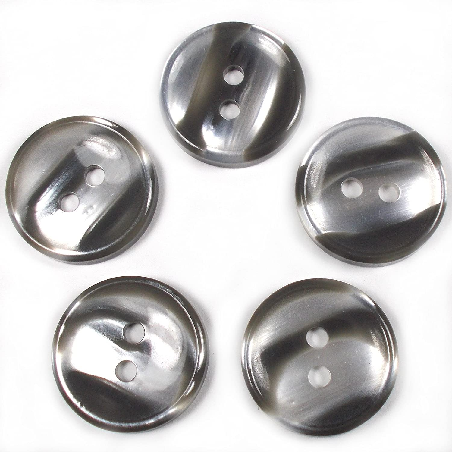 13mm, Brown Marble Stripe Humbug Candy Look Round Buttons Pack of 5