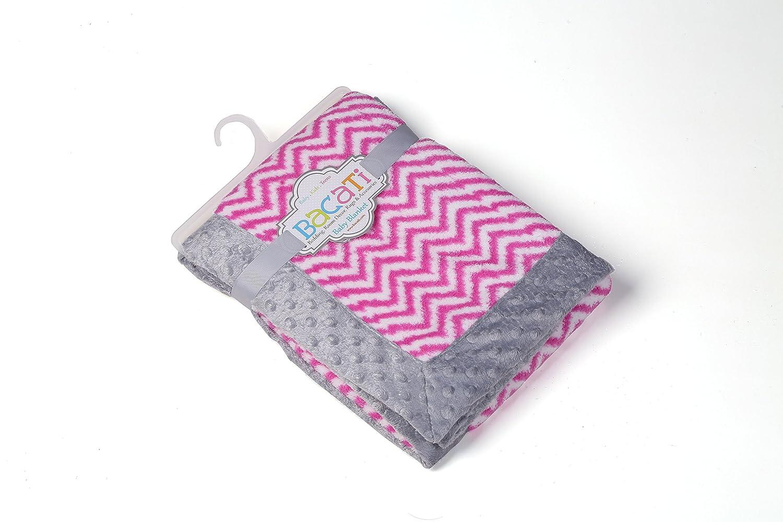 Bacati Bright Pink Ikat Zigzag Chevron with Grey Border Plush Blanket, Bright Pink/Grey, 30 x 40 by Bacati   B00QZ7PUW0