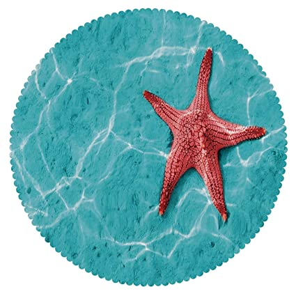 Amazon Com Round Tablecloth Starfish Decor Red Starfish
