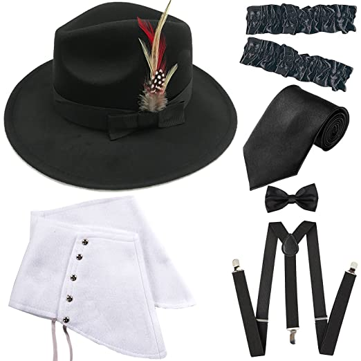 e7efa3a57 1920s Trilby Manhattan Fedora Hat, Gangster Spats/Armbands,Suspenders  Y-Back Trouser Braces,Pre Tied Bow Tie,Tie