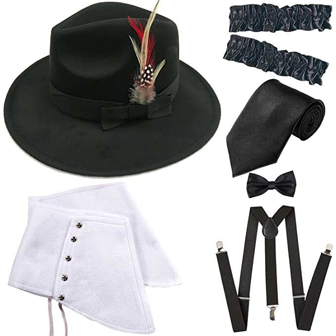 1920s Gangster Costume- How to Dress Like Al Capone 1920s Trilby Manhattan Fedora Hat Gangster Spats/ArmbandsSuspenders Y-Back Trouser BracesPre Tied Bow TieTie $18.99 AT vintagedancer.com