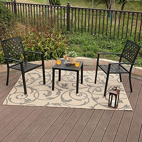 PHI VILLA Patio Outside Armrest Dining 2 Chair and W19 x H18 Small Side Table Set