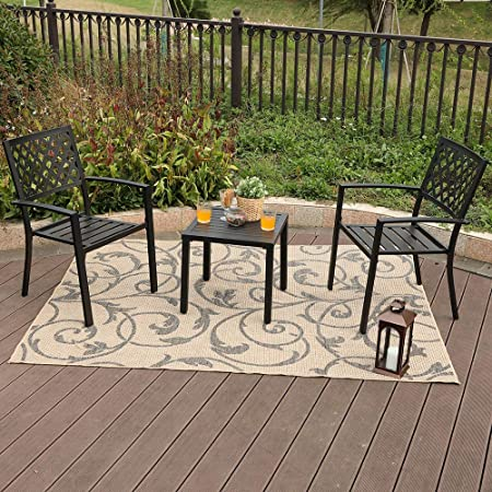 PHI VILLA Patio Outside Armrest Dining 2 Chair and W19 x H18 Small Side Table Set with Rust-Proof Steel Frames