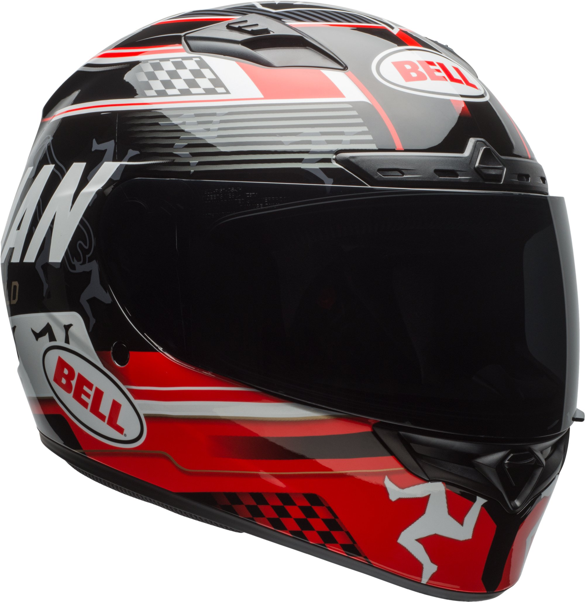 Bell Qualifier DLX Isle Of Man Black/Red Full Face Helmet - X-Large by Bell (Image #1)