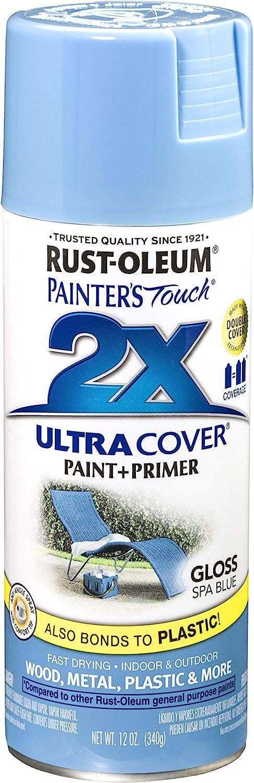 Rust Oleum 249093 Painter S Touch 2x Ultra Cover 12 Oz Gloss Spa Blue Rustoleum Spray Paint Gloss Brown Amazon Com