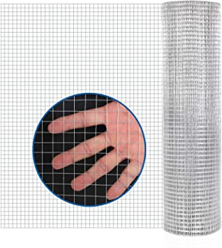 48in X 50ft Hardware Cloth 1/4 Inch Square Galvanized Chicken Wire Welded Fence Mesh Roll Raised Garden Bed Plant Supports (48