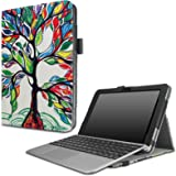 Infiland Asus Transformer Mini T102HA Case, Premium PU Leather Portfolio Stand Cover Case For ASUS 10.1 Inch Transformer Mini T102HA-D4-GR 2 in 1 Touchscreen Laptop- Lucky Tree