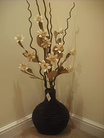 Large Artificial Flower And Decorative Twig Arranagement In Vase