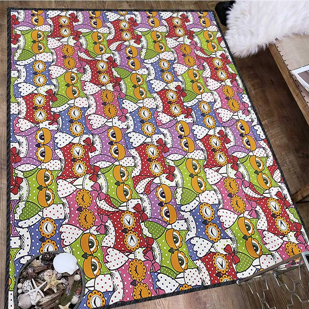 Owl, Anti Skid Rugs, Ornate Owl Crowd with Different Sights and Polka Dots Like Matryoshka Dolls Fun Retro Theme, Door Mats for Inside 5x7 Ft Multi by protectormax (Image #3)