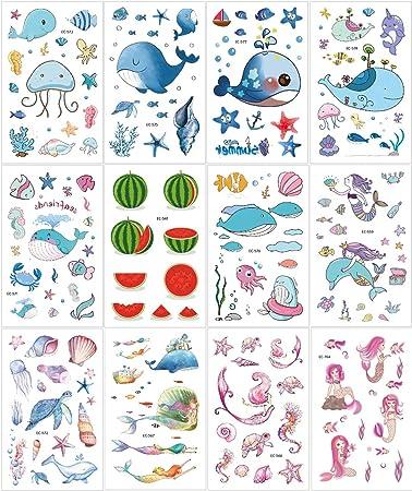 12 Fogli Favori Grandi per Bambini Non tossici Dolcetti Sirena Dolci Simpatici Motivi per la Scuola Tatuaggi temporanei per Bambini di Sea World