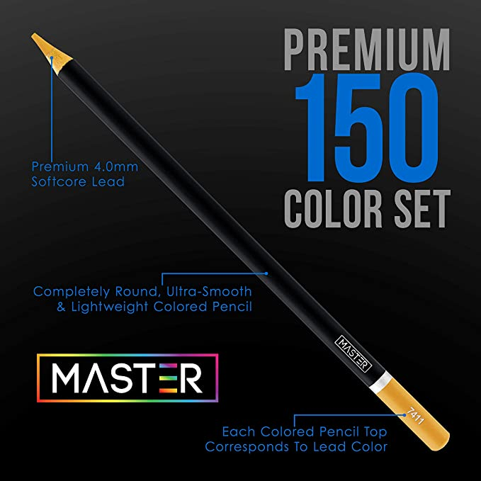 Soft Core Premium Artist Quality Blend Layer Master 150 Colored Pencil Mega Set