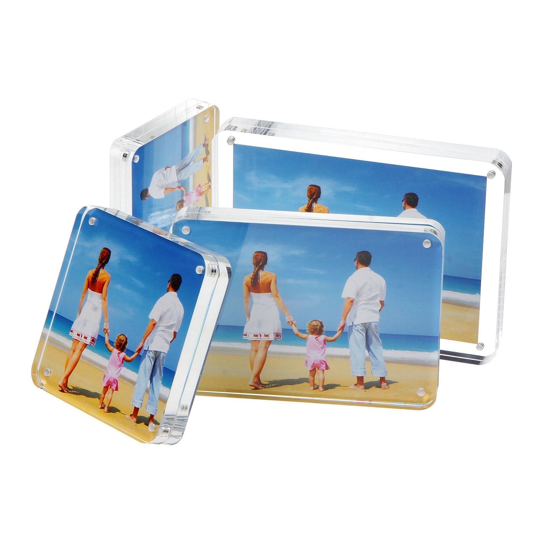 NIUBEE Acrílico Transparente Marco de Fotos 10x15cm,Marco Foto en Cristal Personalizado (15+15 mm de espesor), Regalo de Cumpleaños y Vacaciones: Amazon.es: ...