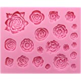 FUNSHOWCASE 21 Cavity Roses Collection Fondant Candy Silicone Mold for Sugarcraft Cake Decoration, Cupcake Topper…