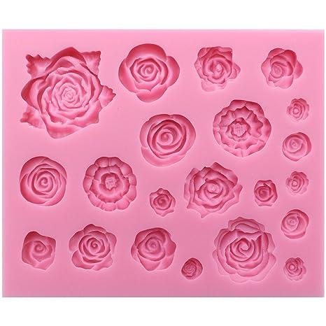 Funshowcase 21 cavidad rosas colección fondant Candy molde de silicona para decoración de pasteles, Cupcakes