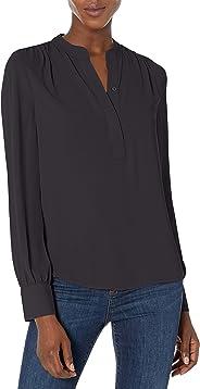 Amazon Brand - Lark & Ro Women's Long Sleeve Band Collar Gathered Detail Blouse