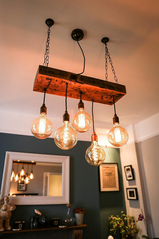 5 Bulb Reclaimed Rustic Wooden Beam Chandelier Ceiling Light Pendant For Exposed Vintage Bulbs Custom Built Amazon Co Uk Handmade