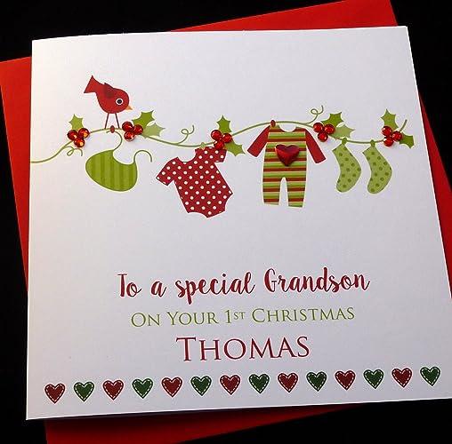 Handmade personalised 1st christmas card grandson nephew handmade personalised 1st christmas card grandson nephew brother son godson colourmoves