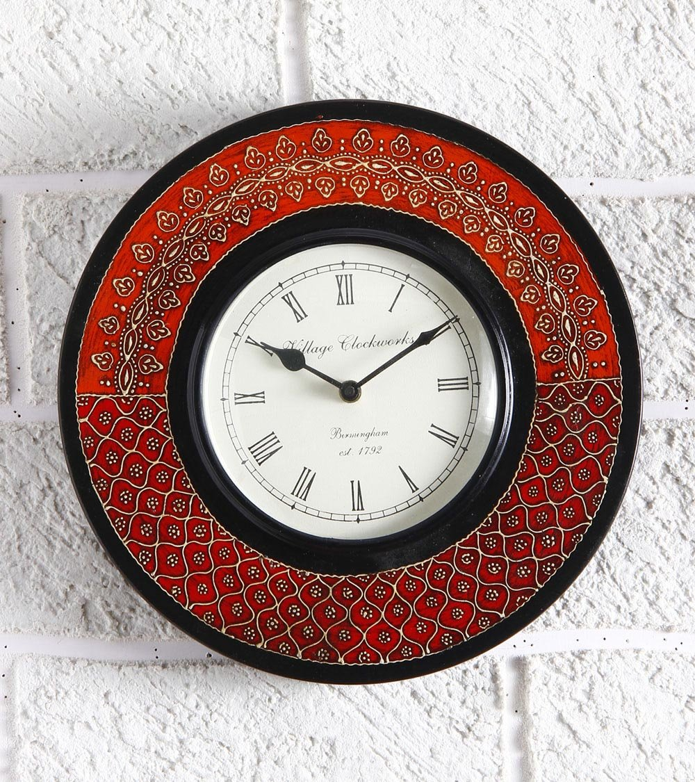 Unravel IndiaWooden Embossed painting multicolored Wall Clock