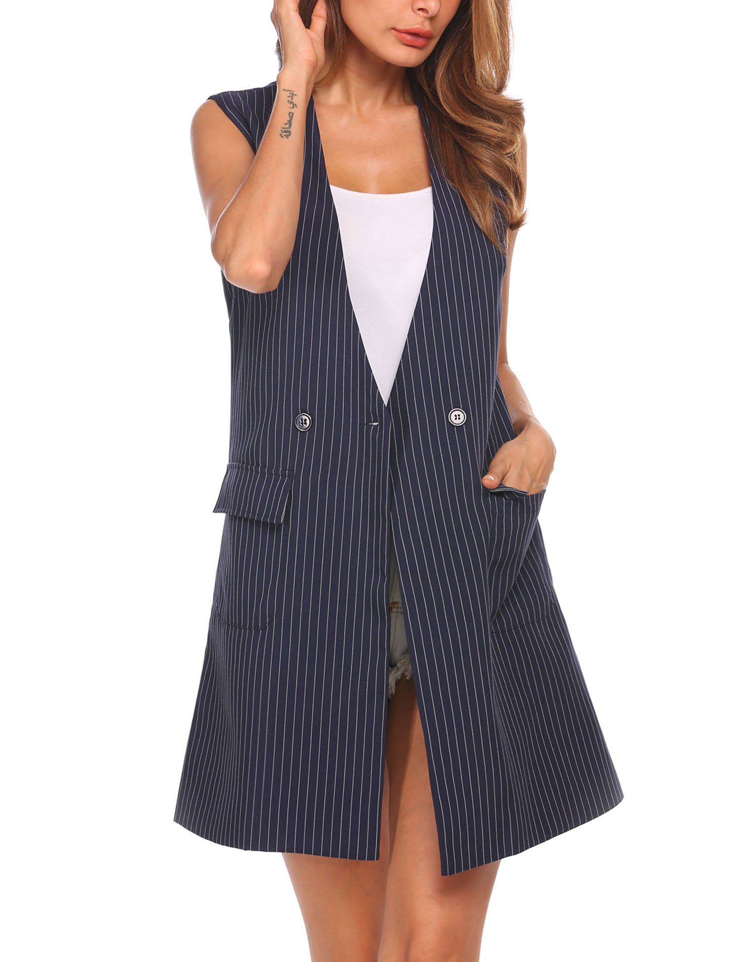 Zeagoo Women's Oversized Open Blazer Striped Suit Vest Longline Sleeveless Waistcoat Jacket Coat,Navy Blue,Large