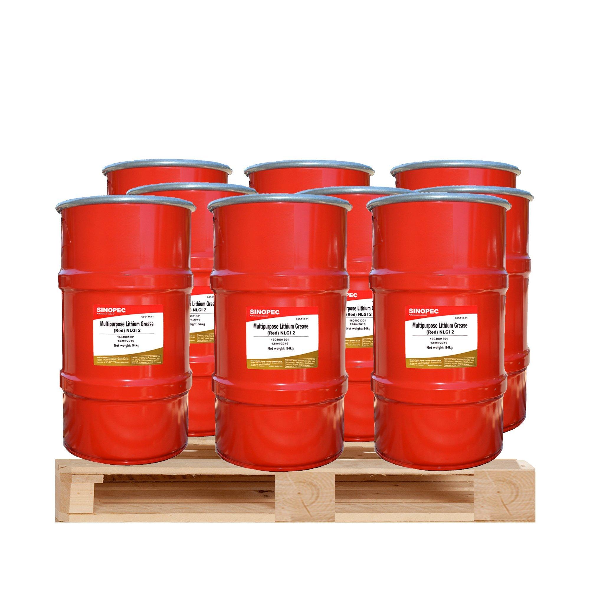 $168 Each - (9) Kegs of Red Multipurpose Lithium Grease #2 - 120LB. (16 Gallon) Keg