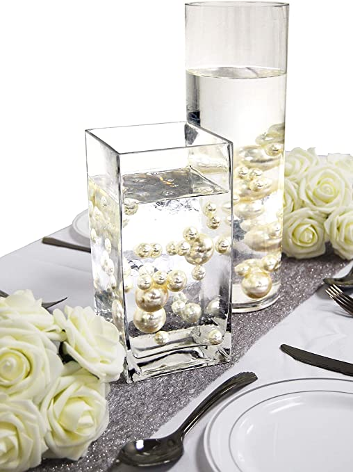 Amazon Com Evershine Floating Vase Filler Pearl No Hole Assorted Size Pearl With Transparent Water Gel Beads Ivory Home Kitchen