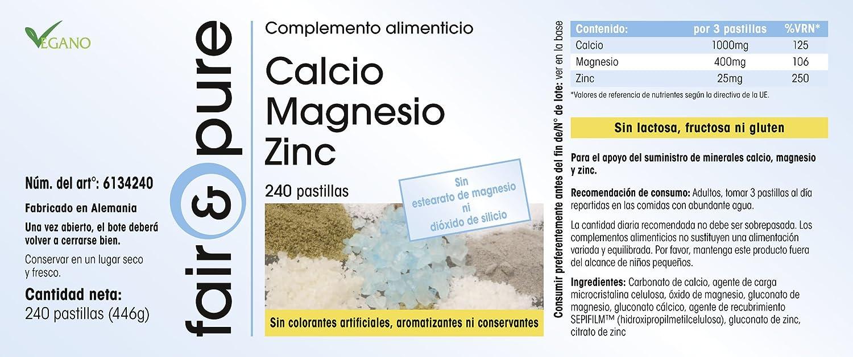 Calcio Magnesio Zinc - 240 comprimidos - Fair&Pure - Fabricado en Alemania: Amazon.es: Salud y cuidado personal