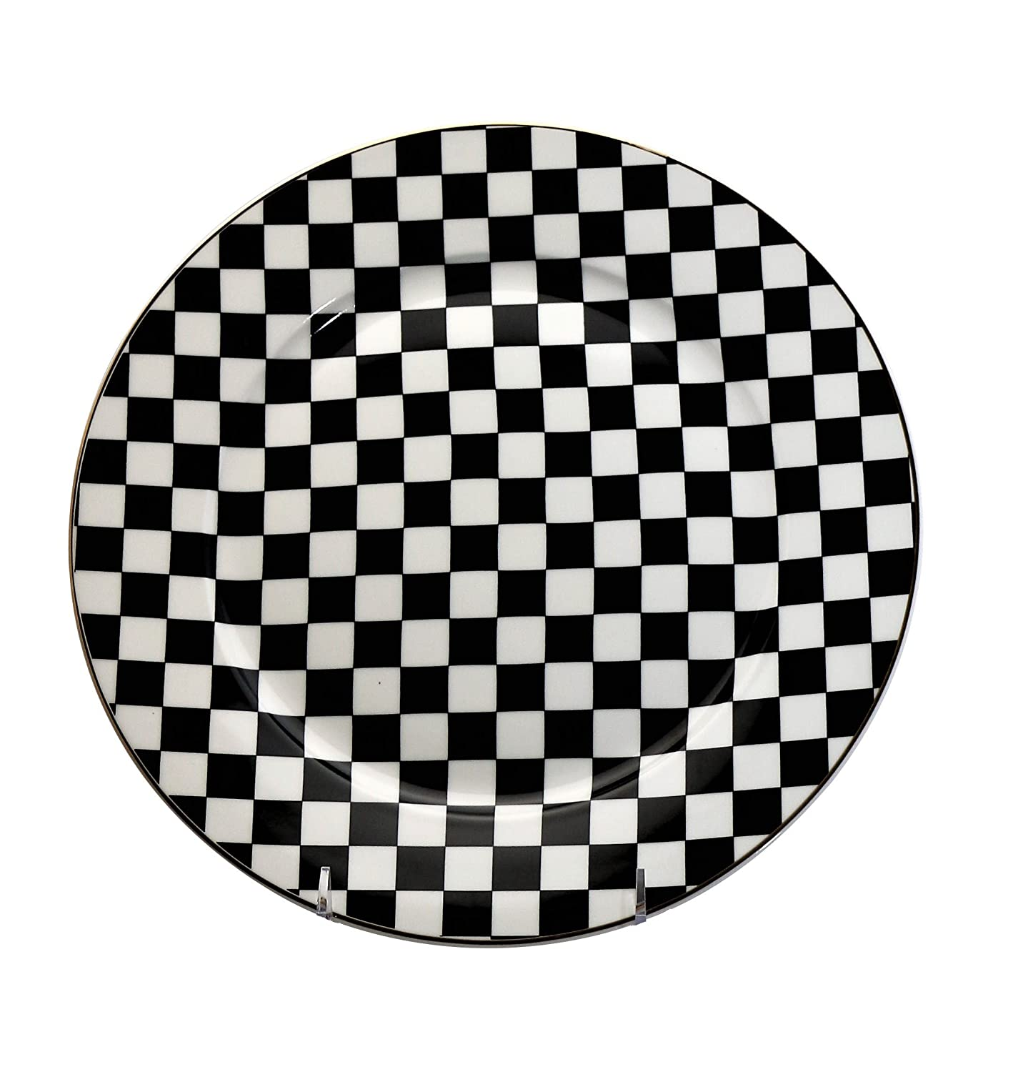 Amazon com 6 piece china dinner plates set black white checkered flag pattern dinnerware sets