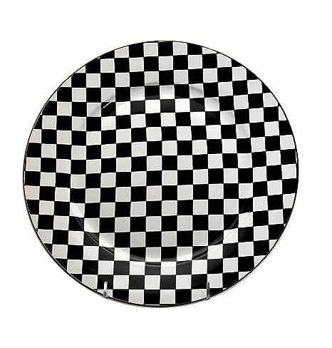 Amazon Com 6 Piece China Dinner Plates Set Black White Checkered