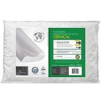 Travesseiro Cervical Para Fronhas 50X70, Fibrasca, Revestimento em Malha 100% Algodão, com Zíper, Branco