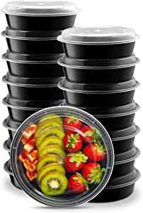 Ez Prepa 15 Pack Plastic Meal Prep Containers - 22 oz Round Food Storage Containers with Snap-On Lids – BPA-Free Reusable Lunch Containers are Freezer, Microwave and Top-Shelf Dishwasher Safe