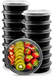 Ez Prepa 15 Pack Plastic Meal Prep Containers - 22 oz Round Food Storage Containers with Snap-On Lids – BPA-Free…
