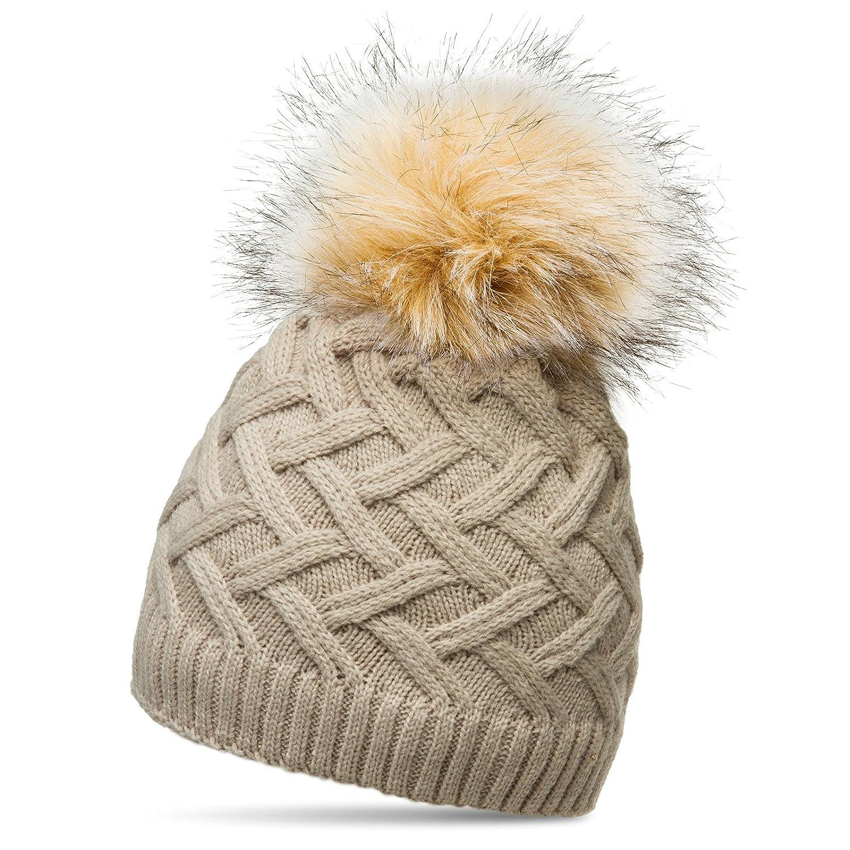 Slouch Beanie Damen Strickmütze gefütterte Mütze mit Fleece und Kunst Fellbommel
