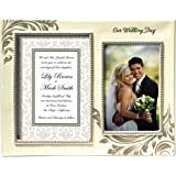 "Grasslands Road ""Our Wedding Day"" Double Photo Frame, 5 by 7 and 4 by 6-Inch, Creme, Ceramic, Gift Boxed"