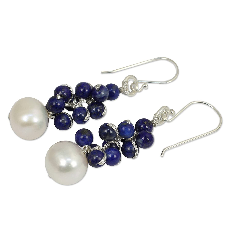 NOVICA Lapis Lazuli Cultured Freshwater Pearl Silver Plated Beaded Earrings Blue Sonata