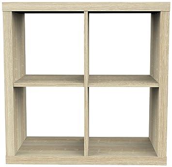 Mensole Rovere Naturale.Furniture 247 Scaffale A 2 Ripiani Con 4 Mensole A Cubo
