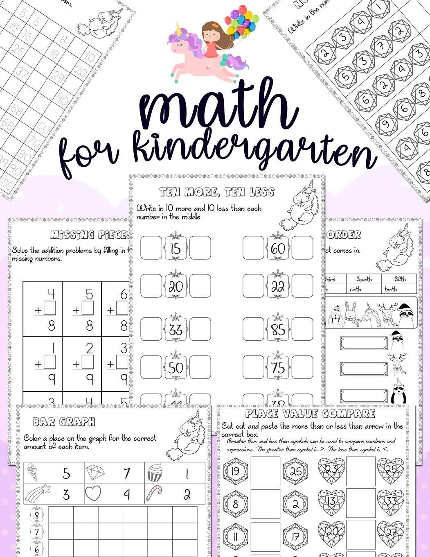 Math For Kindergarten Unicorn Math Activity Book For Kindergarten
