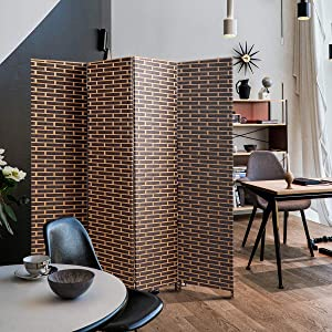 JAXPETY 4-Panel Weave Fiber Room Divider, 6ft Tall Folding Freestanding Privacy Screen for Living Room Bedroom Dining Room Office, Dark Brown