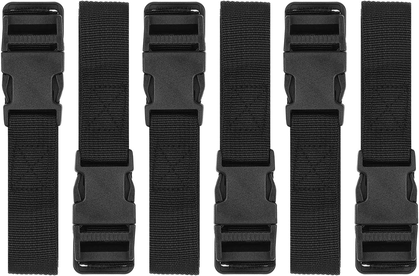 Luggage Nylon Straps with Quick Release Buckle Utility Straps for Travel Packing Outdoorsports 6 Pack 2.5 x 150cm (Black)