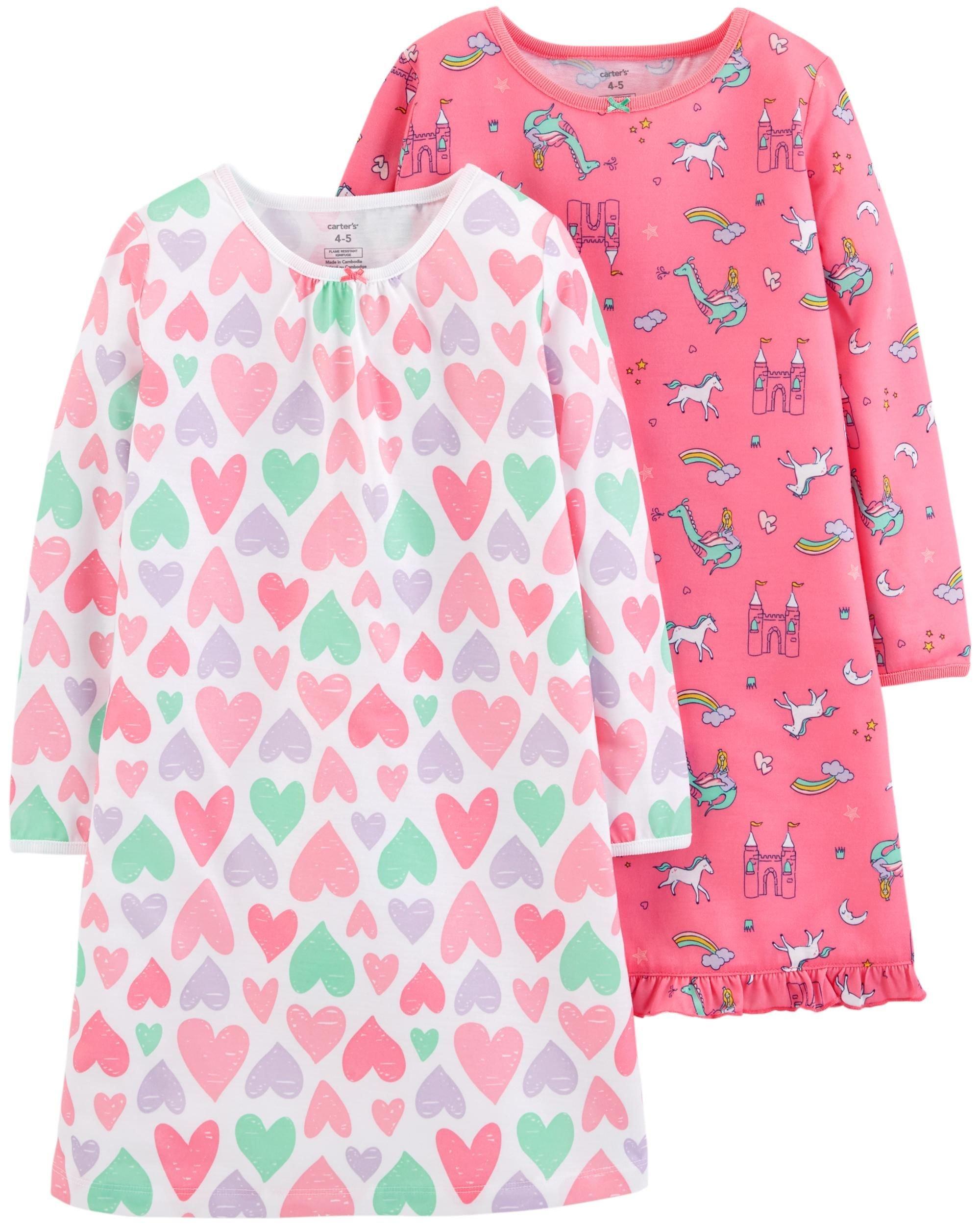 Carter's Girls 2-Pack Sleep Gowns, Unicorn Hearts, 4-5