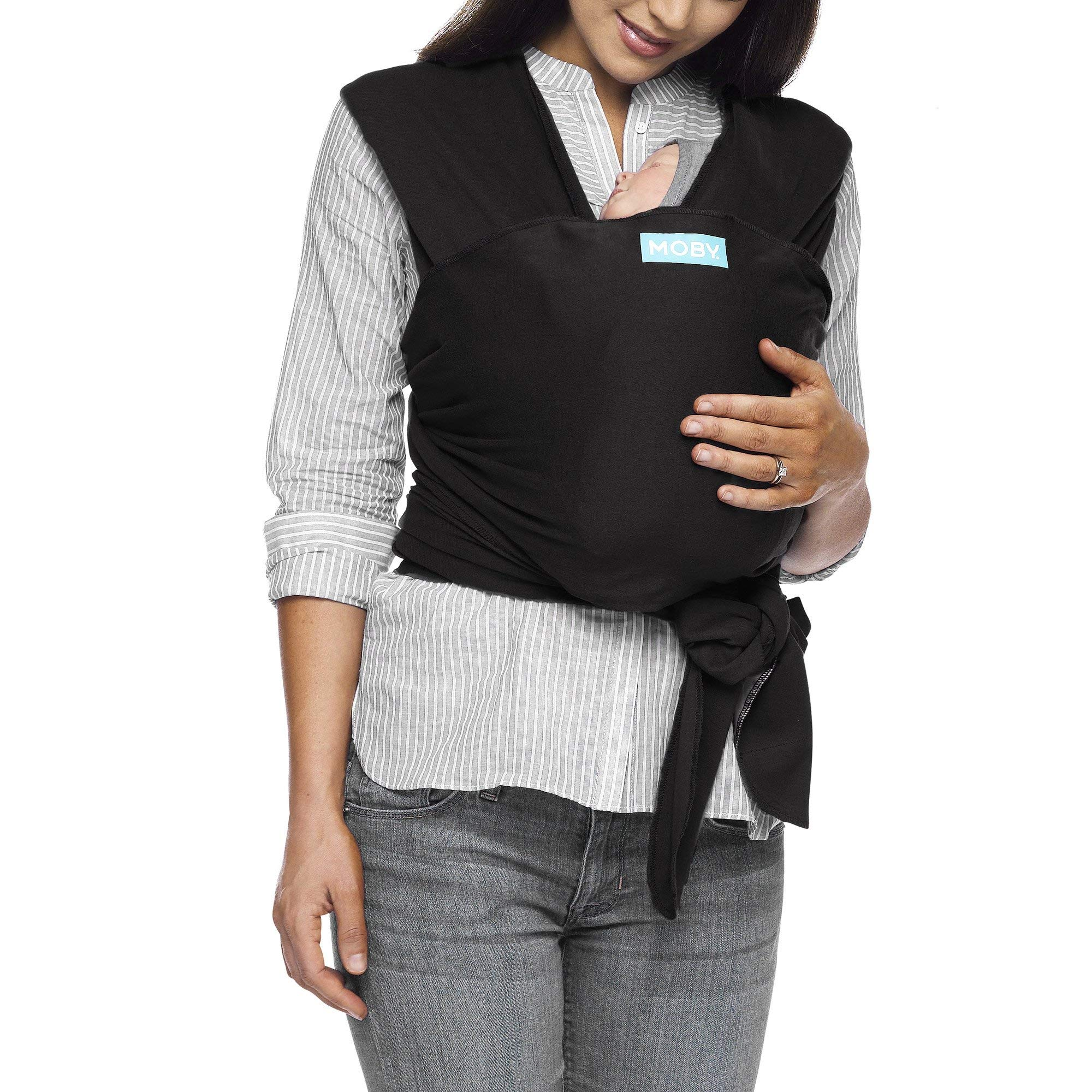 Moby Classic Baby Wrap (Black) - Baby Wearing Wrap for Parents On The Go - Baby Wrap Carrier for Newborns, Infants, and Toddlers-Baby Carrying Wrap for Babywearing, Breastfeeding, Keeping Baby Close