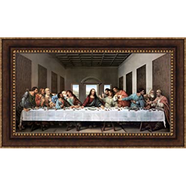 Leonardo da Vinci The Last Supper Framed Canvas Giclee Print - Finished Size (W) 40.5'' x (H) 24'' [Bronze/Gold] (S03-07Q-MD804-80) - Enhanced Image