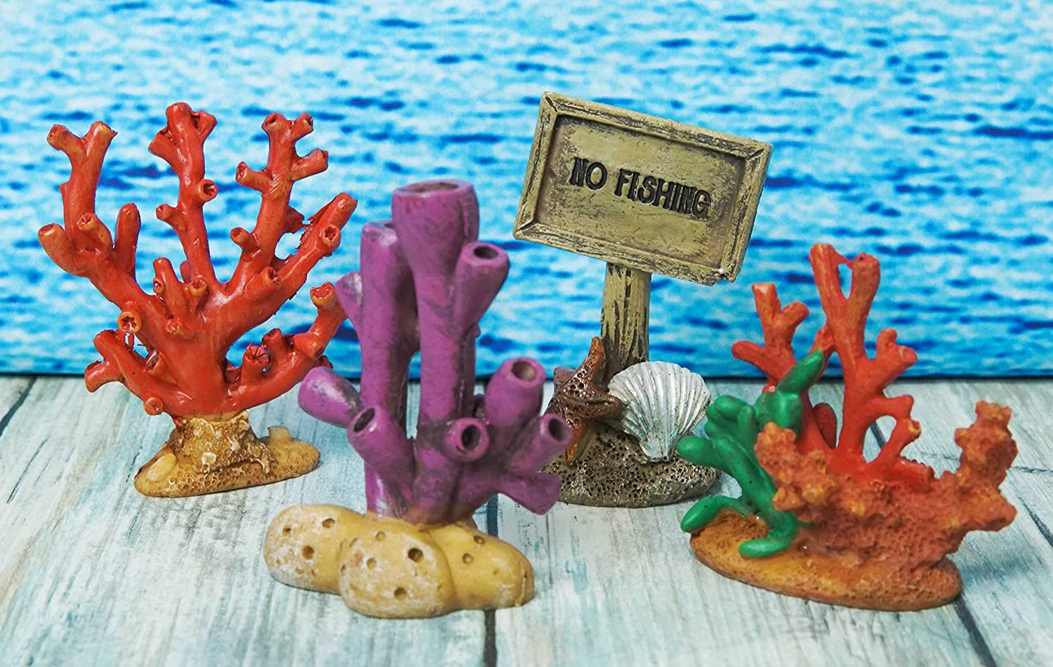 Ebros Whimsical Nautical Underwater Themed Reef Corals No Fishing Sign Small Dollhouse Miniature Figurines Set of 4 DIY Mermaid Fantasy Collection Statue Home Decor for Terrariums Mini Planters