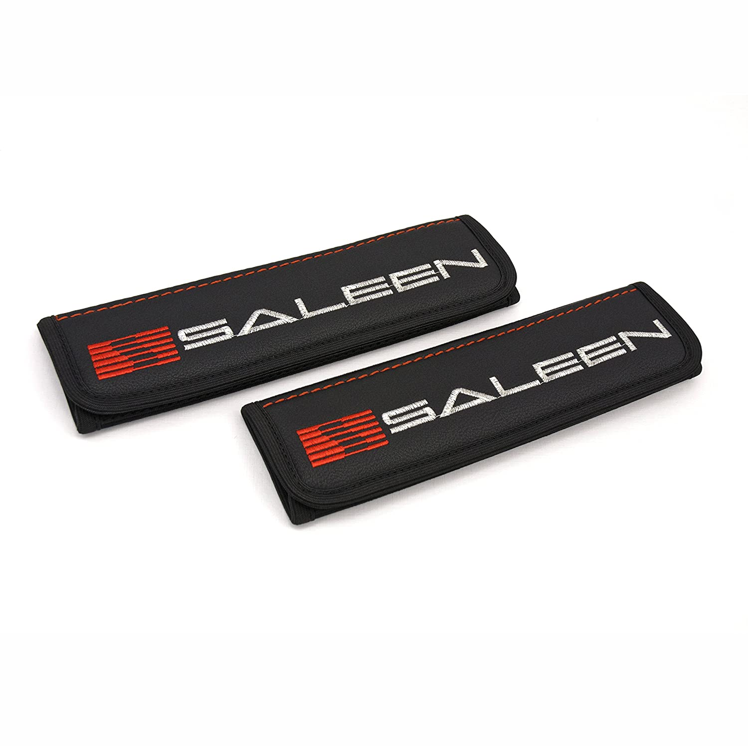 Car Interior Seat Belt Covers for Adults Black Shoulder Pads Seatbelt Cover pad with Embroidered red and Silver Emblem Accessories Compatible for Saleen Great idea for a Gift to The Driver! 2 pcs