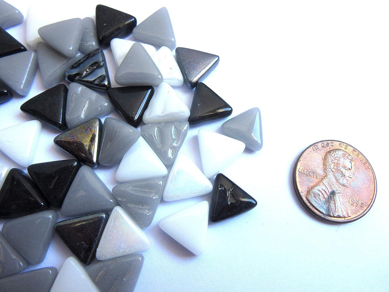 Small Black/White/Gray Mosaic Tiles, Mini Blue Triangle Tiles, Glass Mosaic Pieces, 10 mm, 2 oz (approx 100 tiles)