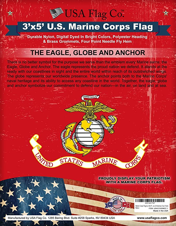 cebf3b1e064 Amazon.com   USA Flag Co. Marine Corps Flag is 100% American Made  The Best  3x5 Outdoor USMC Flag