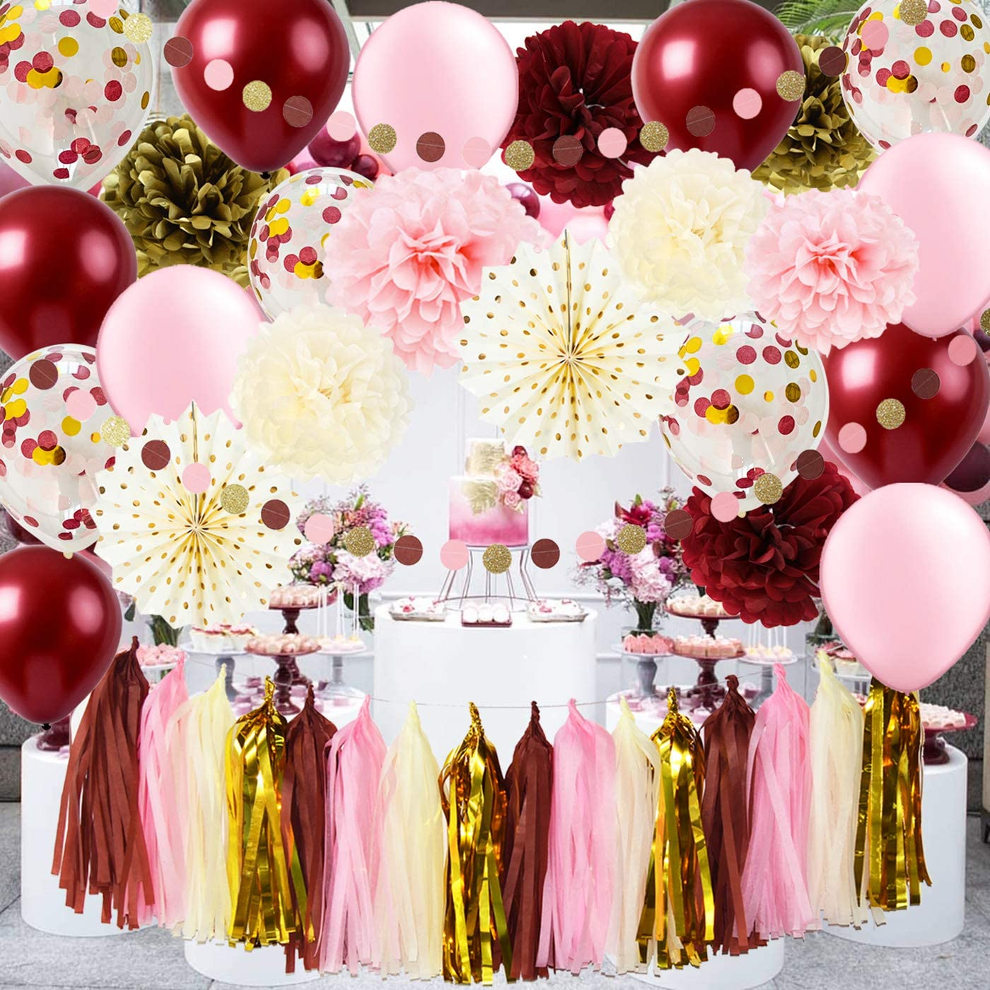Qian's Party Burgundy Pink Gold Birthday Decorations for Women Fall in Love Bridal Shower Decorations Bachelorette/Polka Dot Paper Fans Gold Confetti Balloons 30th/40th/50th Fall Birthday Party Decor